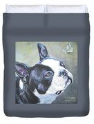 boston Terrier butterfly Duvet Cover by Lee Ann Shepard
