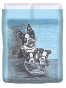Boston Terrier Mom And Pups Duvet Cover