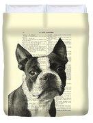 Boston Terrier Portrait In Black And White Duvet Cover