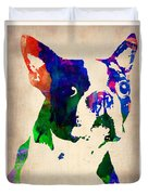 Boston Terrier Watercolor Duvet Cover by Naxart Studio