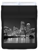 Boston Waterfront Black And White Duvet Cover