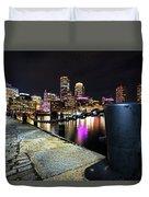 Boston Waterfront Skyline View Boston Ma Duvet Cover