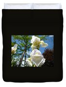 Botanical Landscape Trees Blue Sky White Irises Iris Flowers Duvet Cover