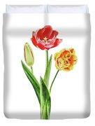 Botanical Tulip Bouquet Watercolor Duvet Cover