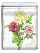 Botanical Vintage Style Watercolor Floral 3 - Peony Tulip And Rose With Butterfly Duvet Cover