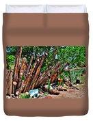 Bottle Fence In Golden New Mexico Duvet Cover