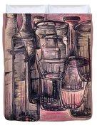 Bottles In Red Duvet Cover