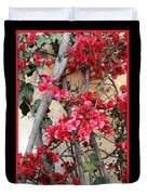 Bougainvillea On Mission Wall - Digital Painting Duvet Cover