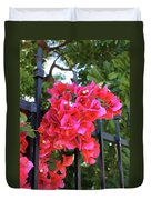 Bougainvillea On Southern Fence Duvet Cover