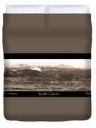 Boulder Colorado Sepia Panorama Poster Print Duvet Cover