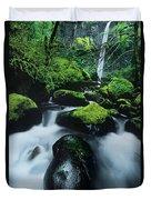 Boulder Elowah Falls Columbia River Gorge Nsa Oregon Duvet Cover