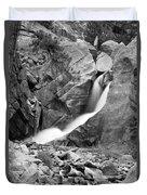 Boulder Falls Black And White   Duvet Cover