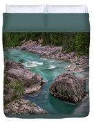 Boulder In The River - Slovenia Duvet Cover