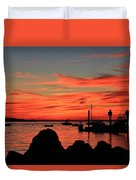 Rock Sunset Silhouette Duvet Cover