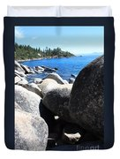 Boulders On Lake Tahoe Duvet Cover