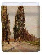 Boulevard Of Poplars Near Plankenberg Duvet Cover