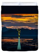 Bountiful Sunset - Moroni Statue - Utah Duvet Cover