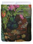 Bouquet And A Cat Duvet Cover