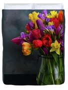 Spring Flowers In Vase Duvet Cover