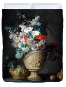 Bouquet Of Flowers In A Terracotta Vase With Peaches And Grapes Duvet Cover