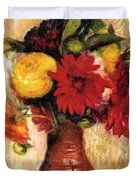 Bouquet Of Flowers In An Earthenware Pitcher Duvet Cover