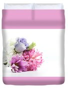 Bouquet Of Fresh Flowers Isolated On White Duvet Cover