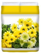 Bouquet Of Fresh Spring Flowers Isolated On White Duvet Cover