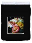 Bouquet Of Mature Roses At The Counter Duvet Cover