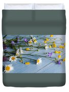 Bouquet Of Wild Flowers On A Wooden Duvet Cover