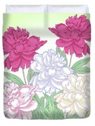 Bouquet With White And Pink Peonies.spring Duvet Cover