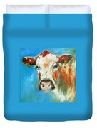 Bovine On Blue  Duvet Cover