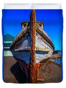 Bow Of Old Worn Boat Duvet Cover