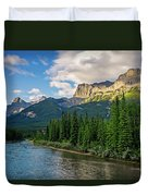 Bow River And Three Sisters Canmore Duvet Cover