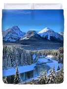 Bow River Parkway Blue Skies Duvet Cover