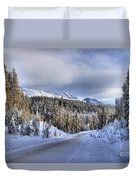 Bow Valley Parkway Winter Conditions Duvet Cover