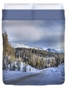 Bow Valley Parkway Winter Scenic Duvet Cover