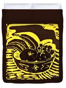 Bowl Of Fruit Black On Yellow Duvet Cover