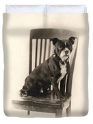 Boxer Sitting On A Chair Duvet Cover