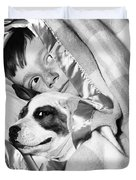 Boy And Dog Hiding Under Blanket Duvet Cover