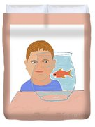 Boy And Fish Duvet Cover