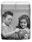 Boy And Girl Putting Money Into Piggy Duvet Cover