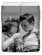 Boy And Girl Sharing A Soda, C.1950s Duvet Cover