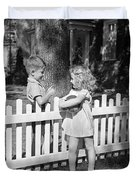 Boy And Girl Talking Over Fence, C.1940s Duvet Cover