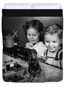 Boy And Girl With Train Set, C.1950s Duvet Cover