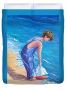 Boy At The Beach Duvet Cover