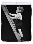 Boy Climbing Tall Ladder, C.1930s Duvet Cover