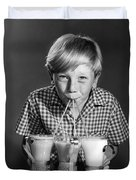 Boy Drinking Three Shakes At Once Duvet Cover
