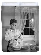 Boy Drying Dishes, C.1950s Duvet Cover