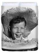 Boy Eating Watermelon, C.1940-50s Duvet Cover
