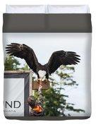 Boy Feeds Mr. Bald Eagle Duvet Cover